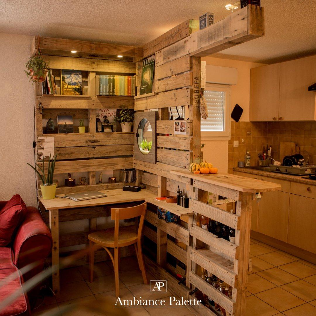 Meuble De Cuisine En Palette.Meuble Cuisine Bar Bureau Bibliotheque Ambiance Palette